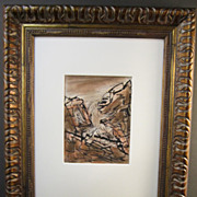 """Monhegan Island, Maine Drawing of """"Squeaker Cove"""" (No. 1) by E. Erlanger,  Listed Artist"""
