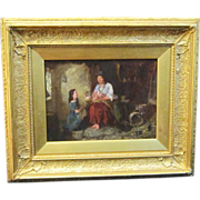 A 19th Century English Family Scene Painting by James Wyon