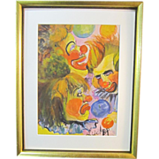 A Vintage 20th Century American Clown Study Watercolor