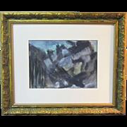 A Mid-Century Modern Abstract Painting of Aspen Colorado b y Elizabeth Erlanger (1901-1975).