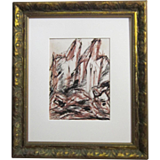 A Mid-Century Modern Abstract Drawing of Yosemite by Elizabeth Erlanger (1901-1975)