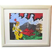 A Vintage Set Design or Orientalist Illustration Painting