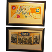 A Pair of 20th Century Mural Studies About General George C. Marshall Done by Umberto Romano (1906-1982)