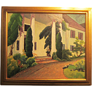 A 20th Century American Modernist Painting of a Virginia House by Freda MacAdam (1907-1998)
