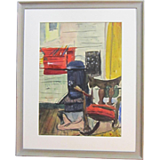 A 20th Century American Modernist Watercolor of an Interior by Harry Brown (1901-    )