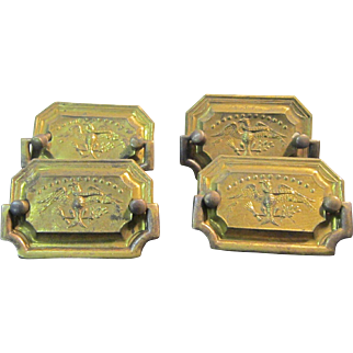 A Set of 4 Vintage Federal Style Brass Furniture Drawer Pulls with American Eagle