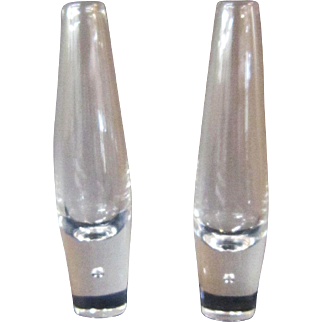 A Pair of Steuben Controlled Bubble Bud Vases