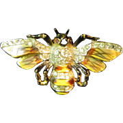 A Marked Sterling Pin in the Form of a Honey Bee with Enameling and Rhinestones
