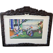 An Early 19th Century Chinese Painting in an Antique Hand Carved Chinese Frame