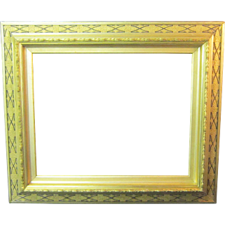 An American 19th Century Gold and Black Picture Frame in the Aesthetics Taste