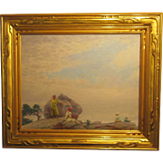 A Cragsmoor , New York Landscape with Figures by Charles C. Curran (1861-1942)