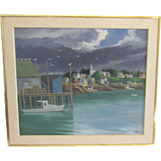 A 20th Century American Modernist Painting of Corea Harbor, Maine by Ernest Fiene (1894-1965)