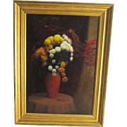 A 20th Century Autumn Still Life of Chrysanthemums and Japanese Maple by Roy Perham (1916-1995)