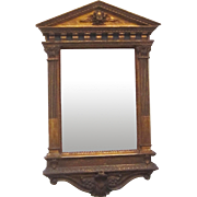 A Renaissance Revival Mirror With Elaborate Pediment, Corinthian Columns and Figural Decoration, 3rd to 4th Quarter of the 19th Century