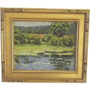 An Early 20th Century American Impressionist Landscape with Pond