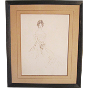 An Early 20th Century American Drawing of a Gibson Girl