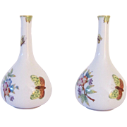 A Pair of Vintage Herend Hand Painted Porcelain Bud Vases