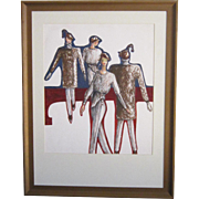 A Vintage Original Fashion Design Watercolor of a Winter Ensemble