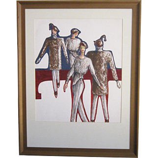 A Vintage Original Fashion Design Watercolor of a Winter Ensemble