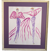 A Vintage Original Fashion Design Watercolor of a Purple Evening Dress