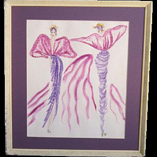 A Vintage Original Fashion Design Watercolor of a Purple Evening Dress