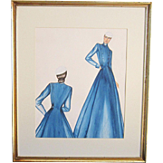 A Vintage Original Fashion Design Watercolor of a High Collar Dress and Pill Box Hat