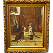 A 19th Century American Folk Art Painting of a Boy Commanding His Dog