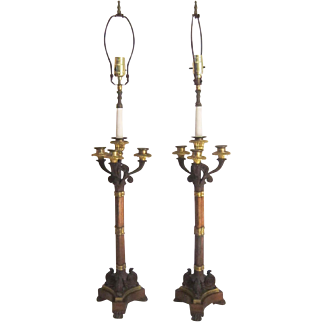A Pair of French Bronze Candelabra Lamps, 1870-1890.