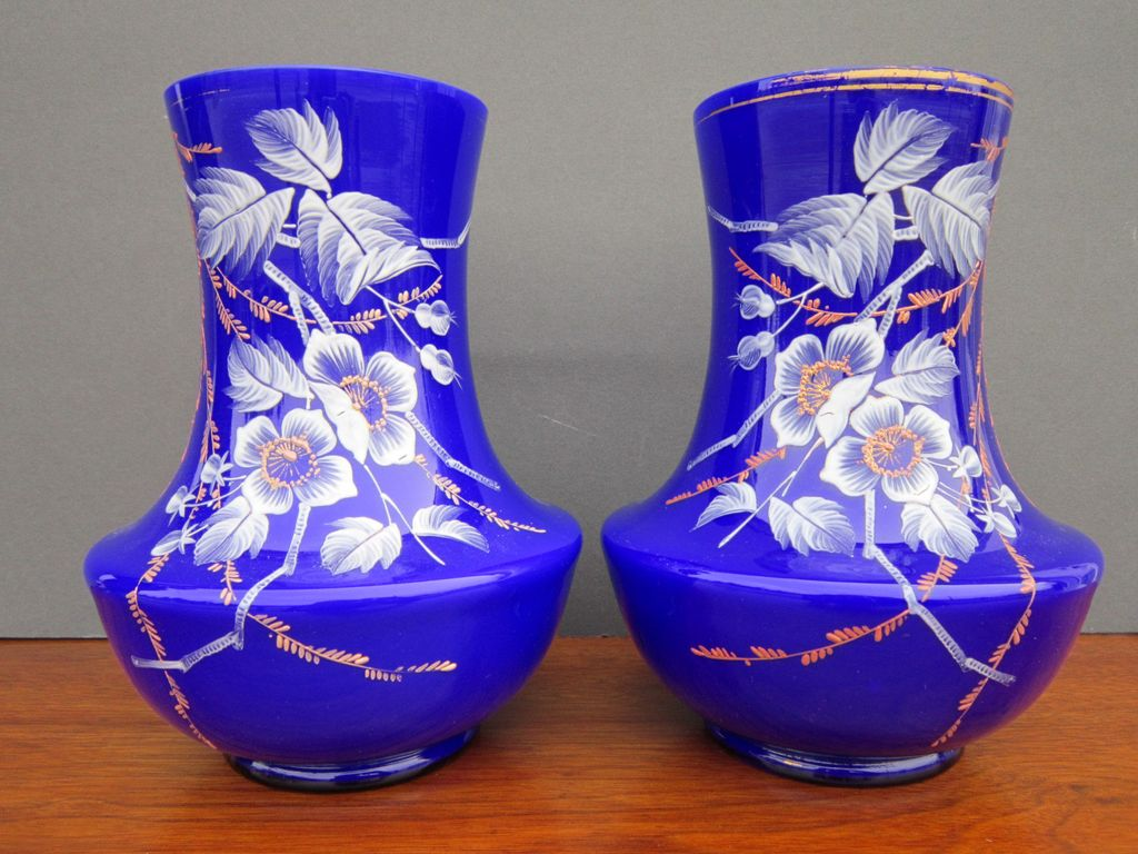 Pair of Vintage Cobalt and White Cased Glass Vases with Hand Painted Enameling