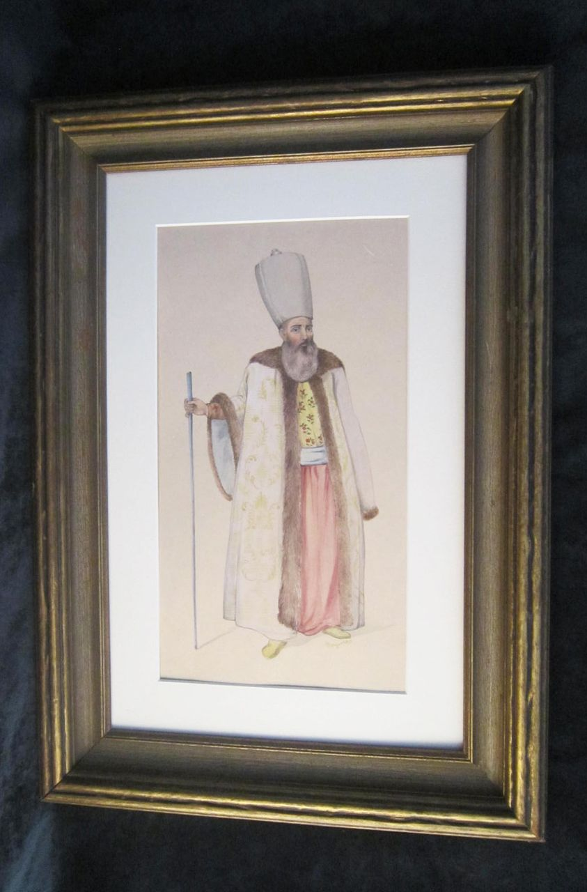 A Late 19th or Early 20th Century Watercolor Illustration of an Eastern Orthodox Prelate