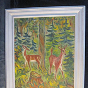 An Abstract Oil Painting of Deer by a Listed American Artist.