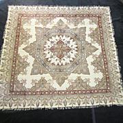 A Vintage Persian Kalamkari Woven Textile With Applied Block Print Decoration