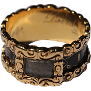 Victorian 18kt gold and enamel mourning ring with locket compartment, 1859