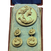 Antique lava cameo jewelry suite