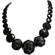 Victorian Carved Whitby Jet & French Jet Necklace