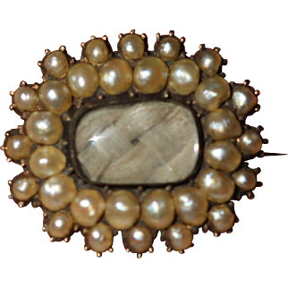Antique seed pearl set mourning brooch