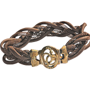 Victorian plaited woven hair upper arm bracelet, gilt clasp