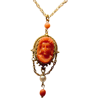 Antique 14kt carved coral cameo pendant with 9kt chain