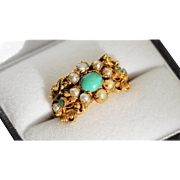 Georgian Turquoise and Pearl Ring, 15kt