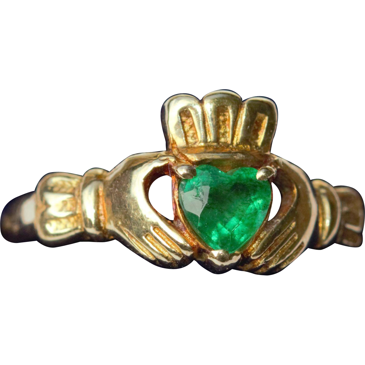 emerald set 18kt claddagh ring from navette on ruby