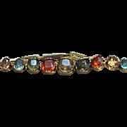Vintage 9kt multi gem stone bracelet