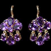 Vintage amethyst 9kt girandole drop earrings