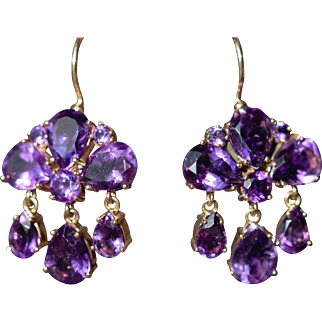 Vintage amethyst 9kt girandole drop earrings