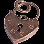 Vintage 9kt rose gold heart padlock