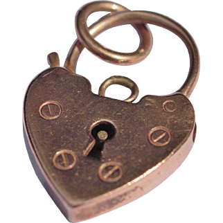 Vintage 9kt rose gold heart padlock