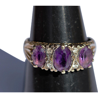 Vintage amethyst and diamond 9kt ring