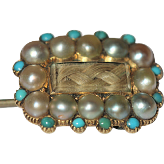 Victorian 9kt stick pin with turquoise and seed pearl border