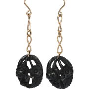 Antique hand carved bog oak earrings with 10kt gold chain and hooks