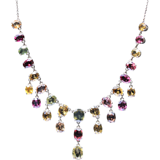 Multi gem fringe necklace set in sterling silver