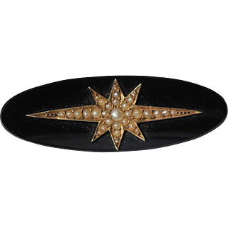 Victorian onyx and seed pearl brooch, 9kt